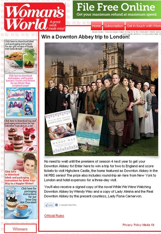 "Don't forget to enter the Woman's World WHILE WE WERE WATCHING DOWNTON ABBEY giveaway to try to win a trip to the ""real"" Downton Abbey--Highclere Castle! Good luck, everyone! http://winit.womansworldmag.com/sweepstakes/win-a-downton-abbey-trip-to-london-738 #DowntonAbbey"