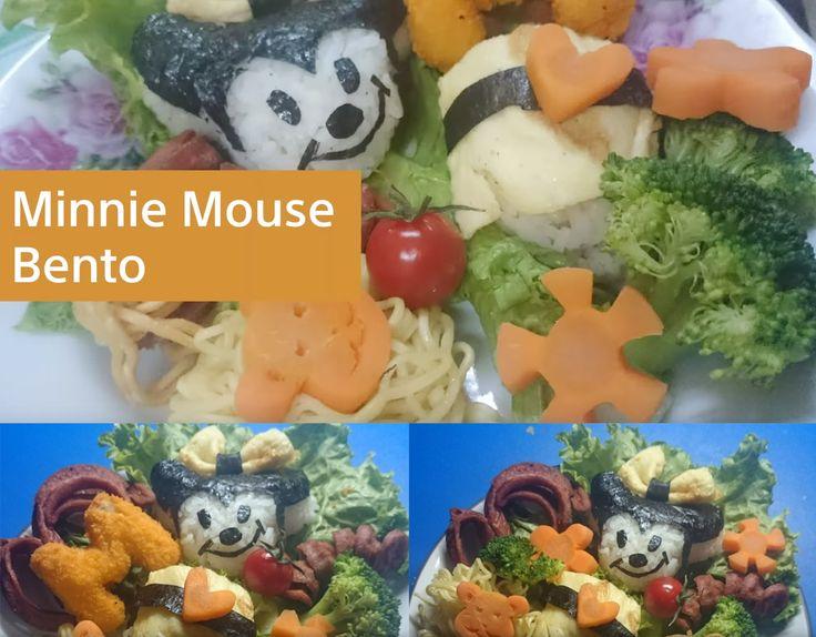 Create homemade Minnie Mouse Bento.   Resep: - Nasi putih masak pulen - Sosis dibentuk sesuai selera - Wortel Rebus - Brokoli Rebus - Tomat Ceri - Nugget huruf - Selada - Mie instan - Nori untuk membentuk muka Minnie mouse - Telur dadar untuk perut Minnie.  #bento #minniemouse #disney #homemade #food #cooking