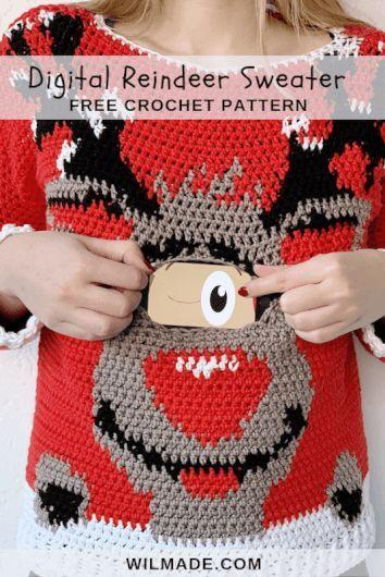 Digital Reindeer Christmas Sweater - free crochet pattern by ...