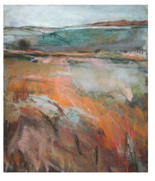 'Staxton Hill', Janine Baldwin, oil & charcoal on canvas, 50 x 43cm  www.janinebaldwin.co.uk