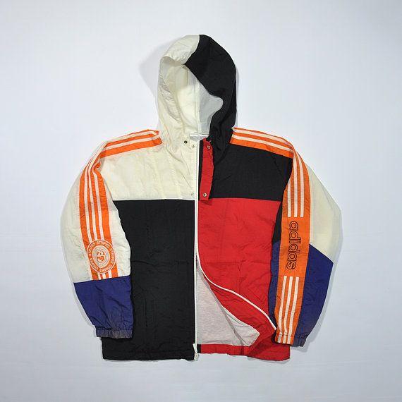 Rare Vintage 80s 90s Adidas Windbreaker Jacket Adidas Shell Jacket Old School Adidas Retro Streetwear Mul Sports Attire Windbreaker Outfit Everyday Outfits