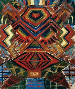 Ernest Mancoba, Composition, 1940. 59 x 50 cm. Oil on canvas.