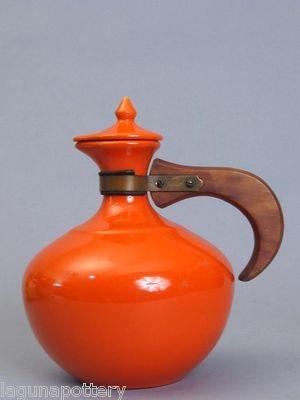 Vintage Bauer Pottery USA Plainware Orange Red Carafe Lid | eBay