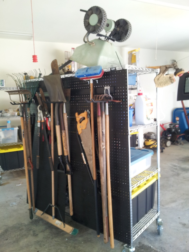 Attach Pegboard To The Back Of The Shelving For Hanging Yard Tools Instead  Of On The