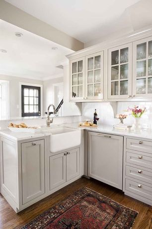 Traditional Kitchen with Crown molding, Farmhouse Sink, Glass panel, Complex marble counters, Mullion Pattern #1, Subway Tile