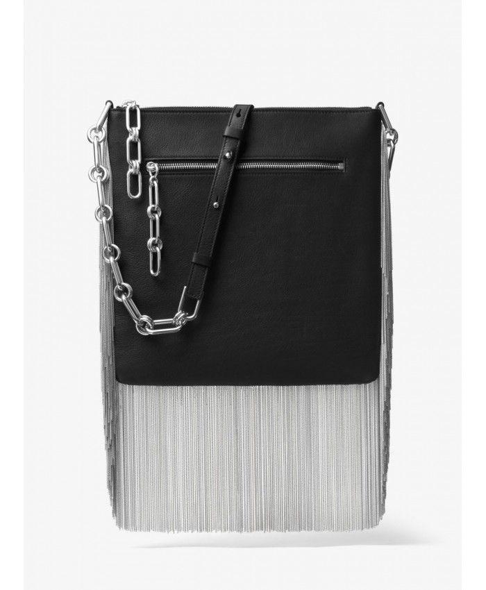 914ef6711302e Michael Kors Black Larissa Medium Chain-Fringed French Calf Messenger  31T7PLRM4L-0001