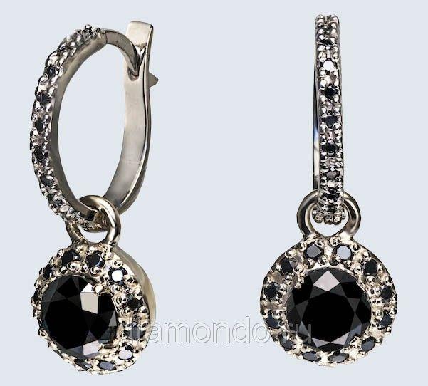 Серьги с черными бриллиантами