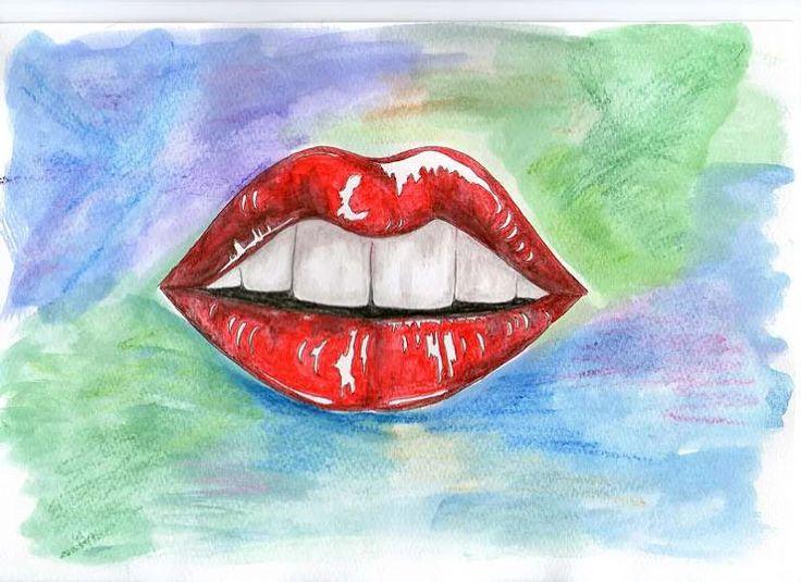 usta, akwarela, tusz, kredki, kobiece usta, wilgotne