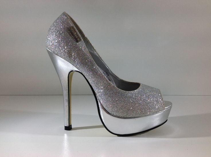 Sissy Boy Silver Glitter High Heeled Platform Peep Toe