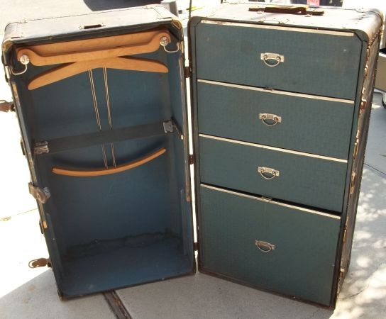 antique wardrobe trunk with drawers 3