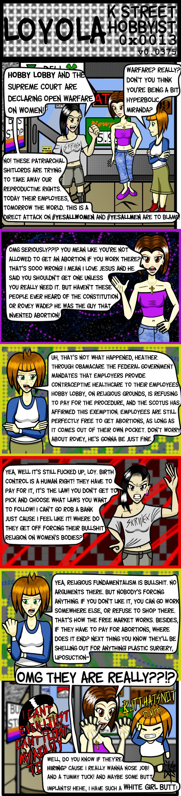 Burwell v. Hobby Lobby is this week's topic. Heather seems to have selective hearing. K street hobbyist by dsallen7.deviantart.com on @deviantART
