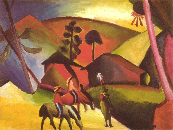 August Macke - Indianer auf Pferde