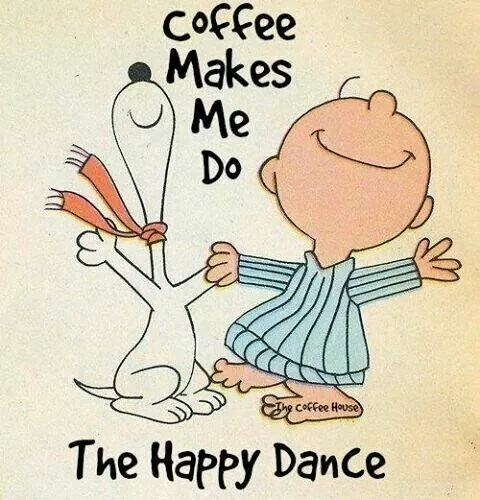 """a) i love Peanuts, b) i love coffee, c) i wrote a tv spec that had a """"happy dance."""" This all seems to work for me:)"""