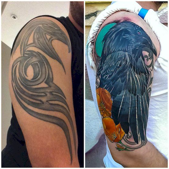 7. Tribal tattoo turned into an incredible raven