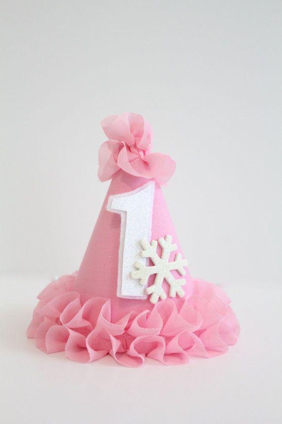 b6e1c858199 by PrettyPoshShoppe on Etsy Winter ONEderland Frozen Ice Princess Snowflake Party  Hat Cake Topper Tassel Garland Banner Pink White …