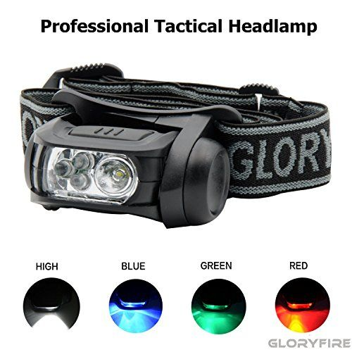 GLORYFIRE Headlamp LED 4 Colors(White, Red, Blue, Green) Headlight Battery Powered Helmet Light Camping Running 3 AAA Batteries Powered Water&Shock Resistant Fixation on Molle System #GLORYFIRE #Headlamp #Colors(White, #Red, #Blue, #Green) #Headlight #Battery #Powered #Helmet #Light #Camping #Running #Batteries #Water&Shock #Resistant #Fixation #Molle #System