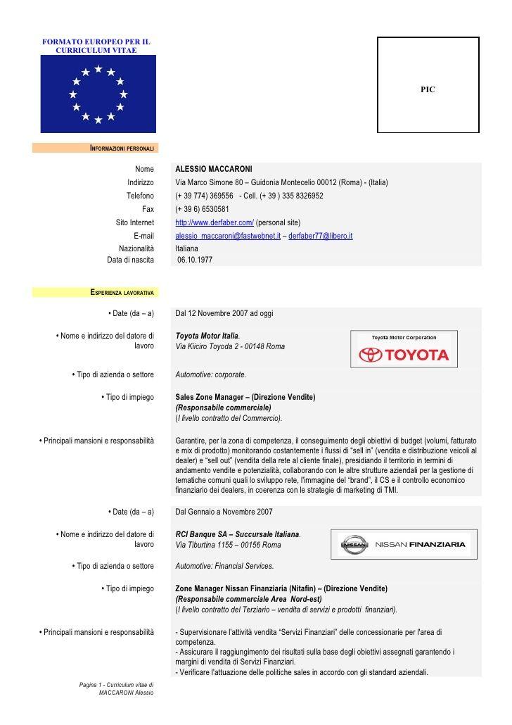 Modulo X Curriculum Vitae Europeo Formato De Curriculum Vitae