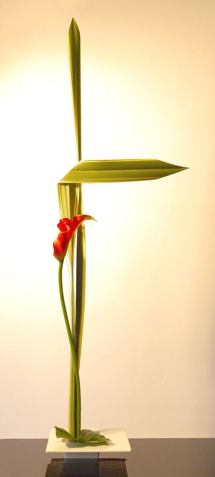 Straight and curved line Sogetsu Ikebana arrangement by Ekaterina Seehaus…