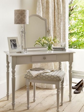 French Dressing Table  taupe, grey, cream colors.  Light wood floors.