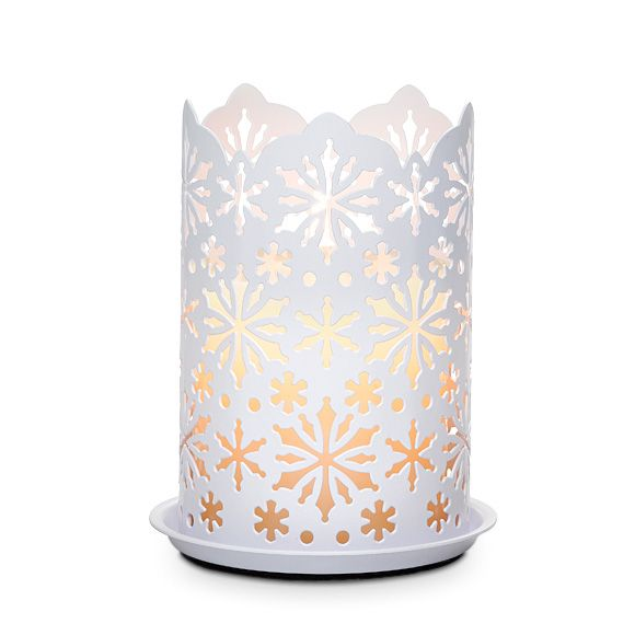 Make this Winter Lace Candle (White Metal) peirced with snowflakes a holiday choice!