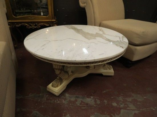 Vintage Antique Italian Round Marble Top Coffee Table   $295
