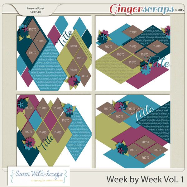 Week by Week Vol. 1 available at GingerScraps here: http://bit.ly/QWS_WBW1gs #digiscrapping #digitalscrapbooking #queenwildscraps #templates