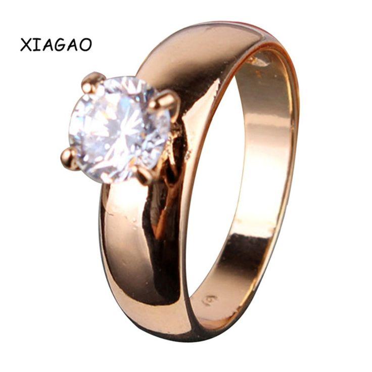 XIAGAO Pernyataan Mode Rings untuk Wanita Emas warna Putaran Putih Austria Kristal Rings Zircon CZ Band Engagement Ring R083