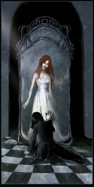 Snape's reflection in the mirror of Erised ...Lilly