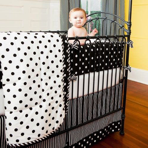 Black And White Dots Stripes Crib Comforter Carousel Designs Baby Pinterest Cribs Bedding