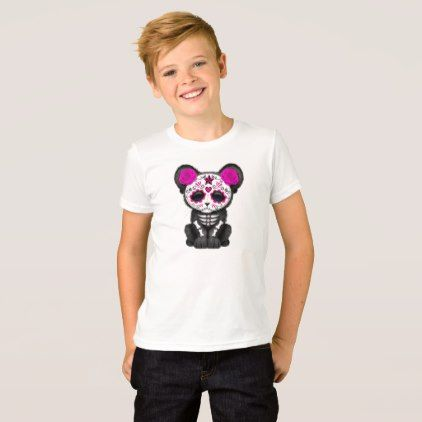 #Pink Day of the Dead Black Panther Cub T-Shirt - #cool #kids #shirts #child #children #toddler #toddlers #kidsfashion