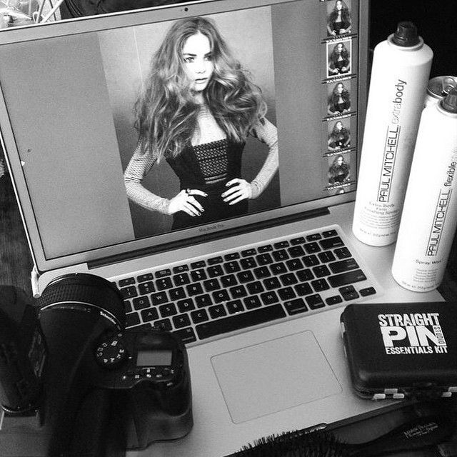 On set recently with Paul Mitchell Editorial Director @luciedoughty. Hairspray and hair pins are must-haves. #IHeartPM