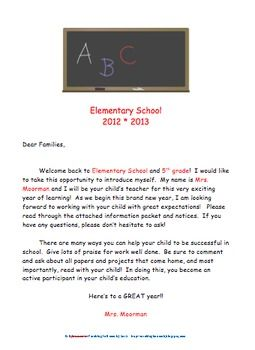 Welcome Back to School Letters for Parents.
