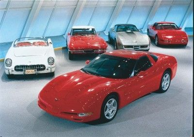 Only a hatchback coupe was offered for the 1997 Corvette, here posed with four of its grandfathers.