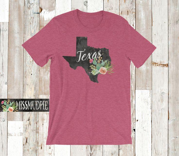 Texas T-shirt color: Heather Raspberry State cactus desert flower Austin Dallas San Antonio Houston home native texan southern cowgirl by missmudpie on Etsy