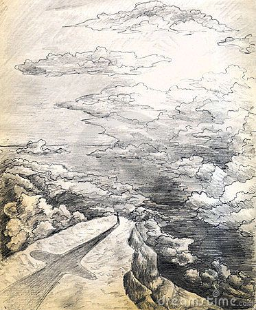 Pencil Drawings Of Crosses Landscape of a sea wor...