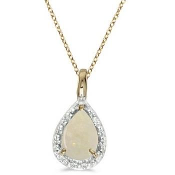 Pear Shaped Opal Pendant Necklace 14k Yellow Gold (0.85ct) - Allurez.com