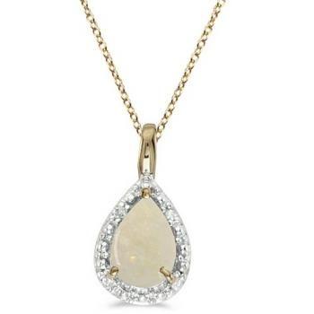Pear Shaped Opal Pendant Necklace 14k Yellow Gold (0.85ct) - Allurez.com