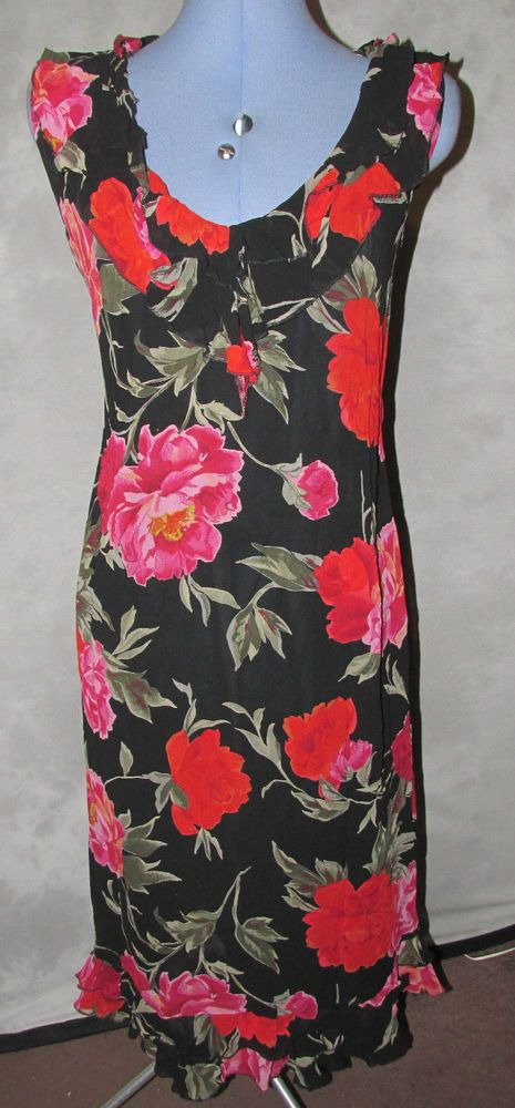 Ladies size 16 Formal Dress Black+ Red Floral Calf Length Sleeveless V Neck