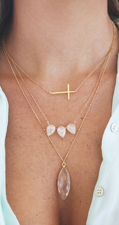 Love the beaded station necklace and the elongated briolette.  Maybe morganite and rose gold...