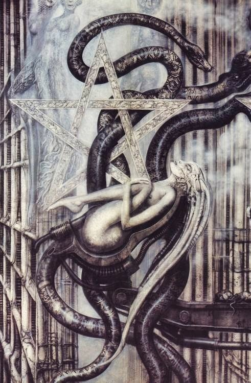 by H. R. Giger..i don't know y but evrytime i look at his drawings my whole body vibrates:D n his creatures in movies.
