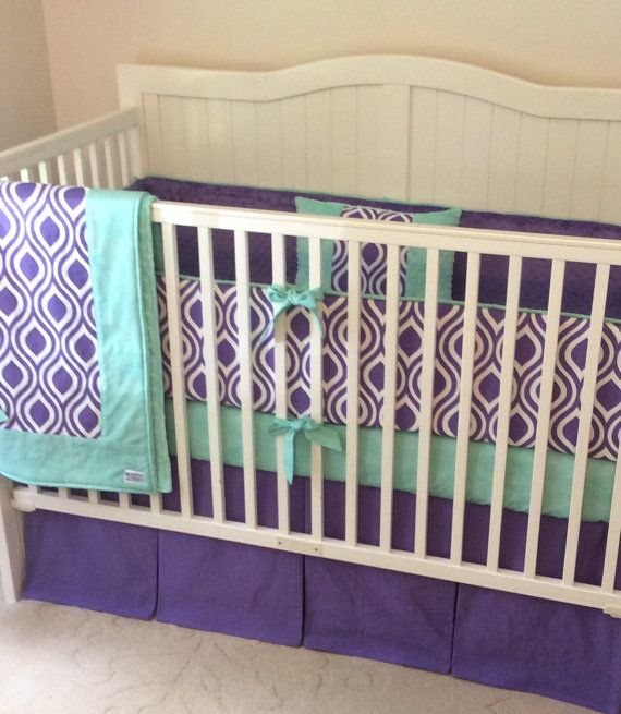 SALE Crib Bedding Set Purple and Mint by butterbeansboutique