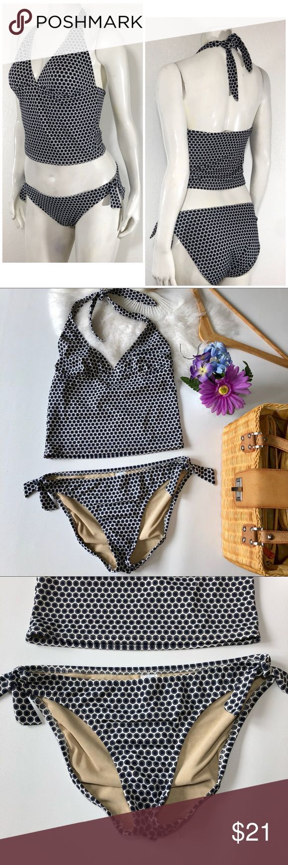 """J. Crew bikini set swimsuit. White navy blue M J. Crew bikini swimsuit set. Size M. White with navy blue polka dot print. In excellent conditions. Please see pictures for fabric information. ALL MEASUREMENTS ARE APPROXIMATE AND LAYING FLAT: bottom  🔸WAIST: 14"""" 🔸LEG OPENING:  10""""  ALL MEASUREMENTS ARE APPROXIMATE AND LAYING FLAT: Top 🔸LENGTH: 15""""  🔸PIT TO PIT: 13.5"""" 🔸WAIST: 13.5"""" FEEL FREE TO ASK QUESTIONS  I DO NOT TRADE J. Crew Swim Bikinis"""