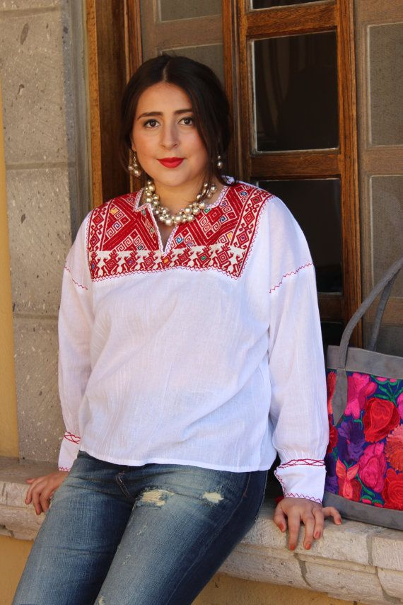 Hand Embroidered Mexican Blouse on 100% Cotton Gauze- Long Sleeve- BOHO-Hippie- Red- Chiapas
