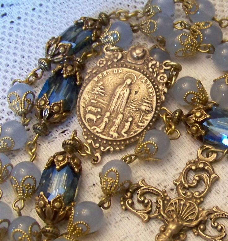 Rosary ~ Our Lady of Fatima ~ 8mm Blue Jade ~ Antique Bronze Design ~ Handmade