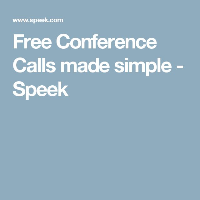 Free Conference Calls made simple - Speek