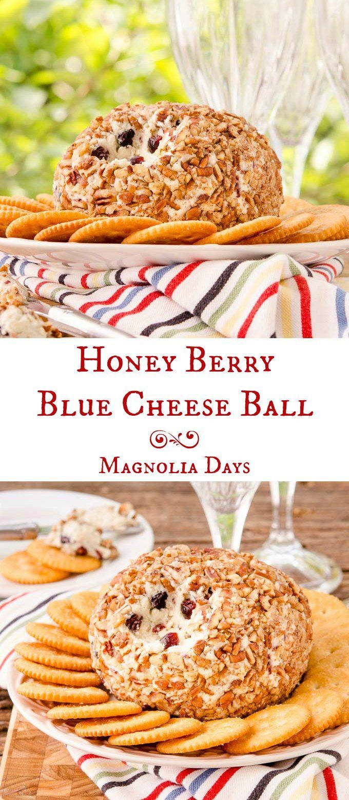Honey Berry Blue Cheese Ball has all the elements of a cheese tray rolled into a ball. Blue cheese, cream cheese, honey, berries, and nuts are in this tasty appetizer. #SundaySupper
