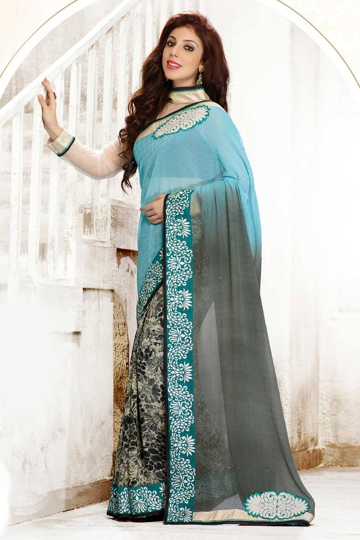 Blue Grey Chiffon Saree with Art Silk Blouse Price:-£45.00 Designer festival Sari collection with blouse are now in store presented by Andaaz Fashion like Blue Grey Chiffon Saree with Art Silk Blouse. This Saree is embellished with Embroidered, Patch, Resham, Stone, work and designed with Lace Border Designer Pallu, Round Neck Blouse, Full Sleeve. This is prefect for Party, Wedding, Festival, Ceremonial http://www.andaazfashion.co.uk/blue-grey-chiffon-saree-with-art-silk-blouse-dmv7747.html