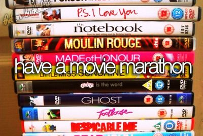 Mean girls,bridesmaids, the vow, Harry potter, lord of the rings, anchorman, whats your number (for eliza coupe) and others would make for a perfect marathon