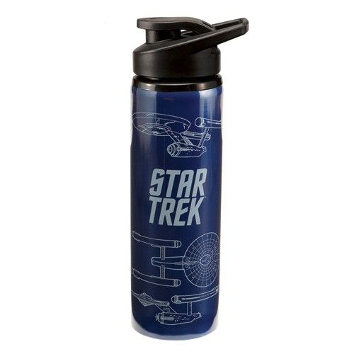 """Featuring a new flip-top design, the Star Trek """"Enterprise"""" 24 oz. Stainless Steel Water Bottle is eco-friendly, non-toxic, reusable and recyclable. Oh, and it's also decorated with a geek-chic blueprint of the USS Enterprise."""