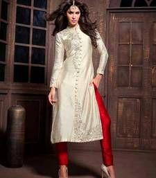 Embroidered silk semi-stitched salwar with dupatta